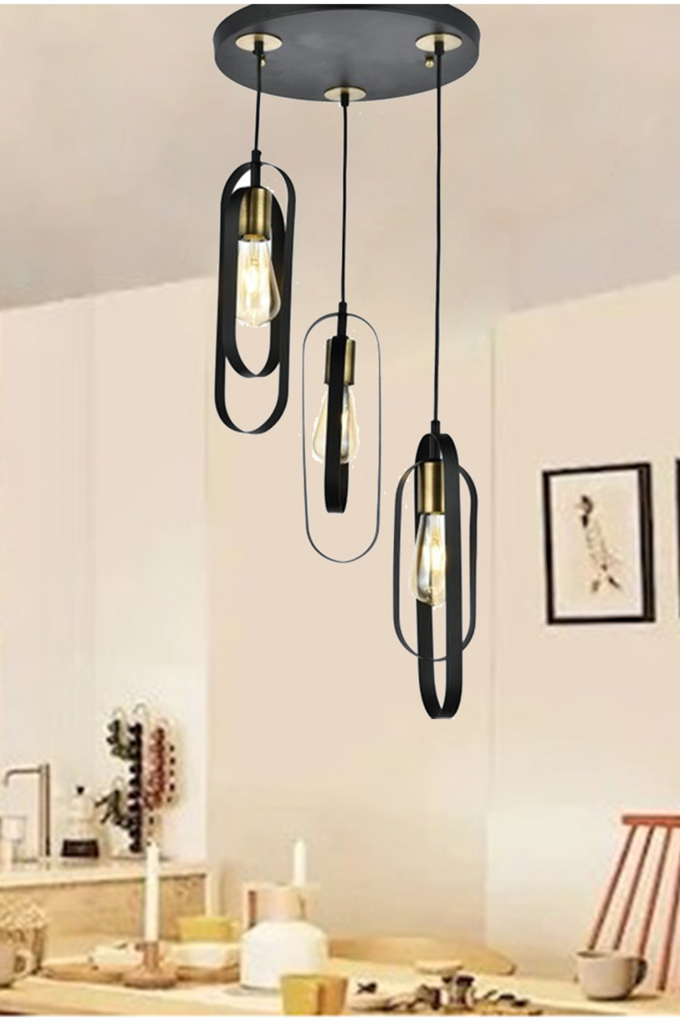 Hanging lamp elegance black
