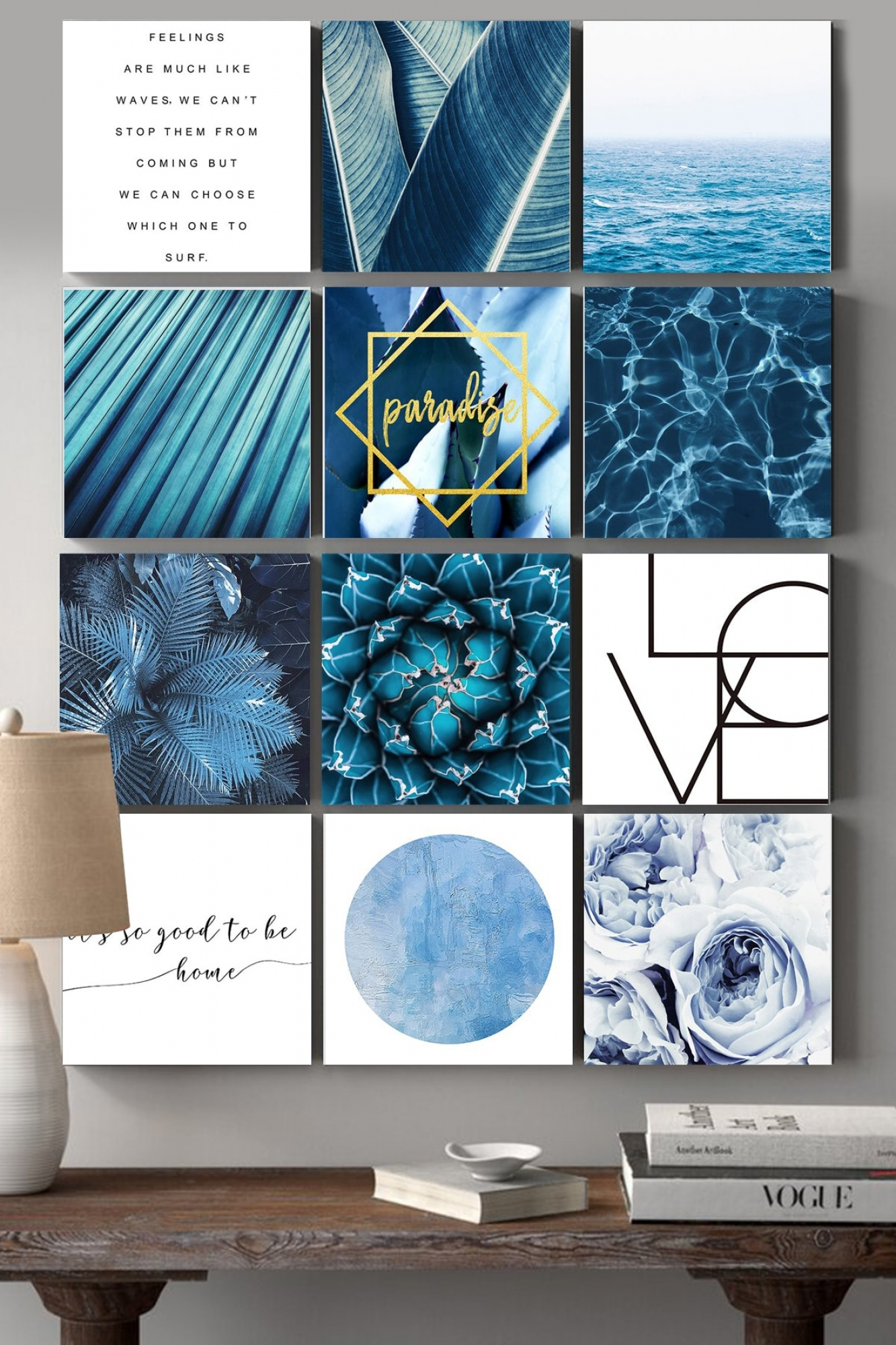 MDF Pictures - Set of 12 Blue feelings
