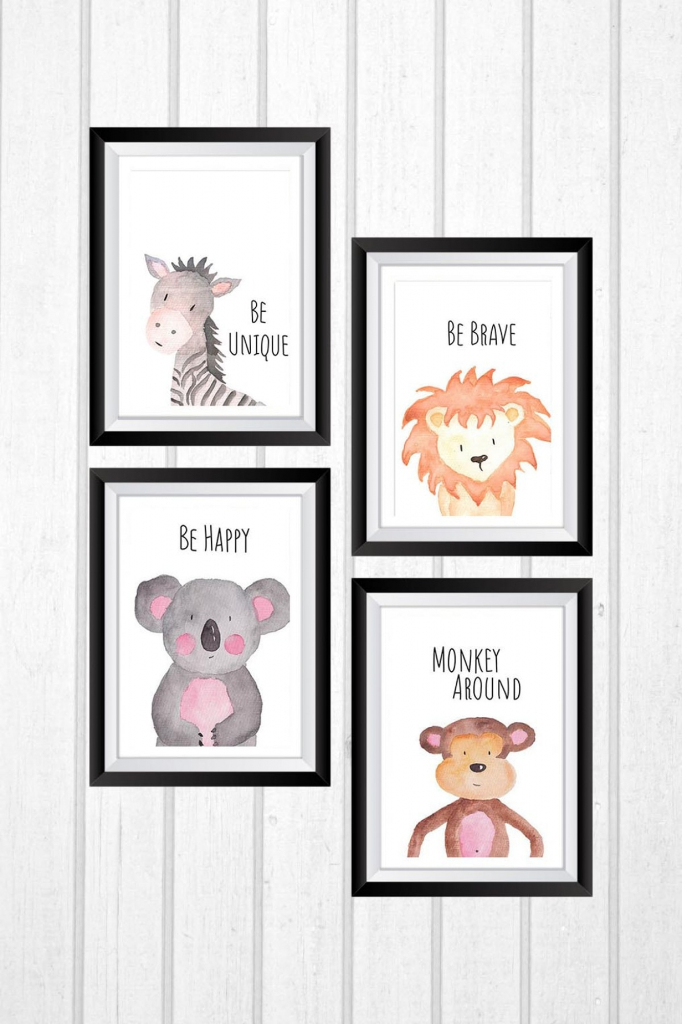 MDF Pictures - Set of 4 - Sweet animals