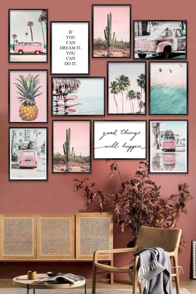 MDF Pictures - Set of 12 - Pink summer
